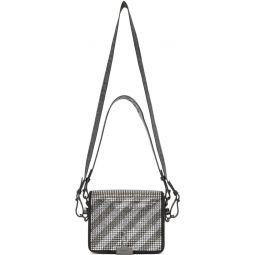Black Crystal Diag Flap Bag