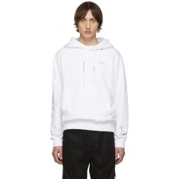 White & Silver Diag Unfinished Slim Hoodie