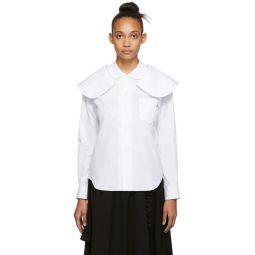 White Oversized Double Collar Shirt
