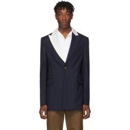 Navy 2BT Striped Tuxedo Jacket
