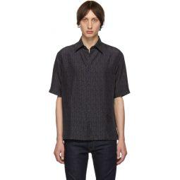 Navy Silk FF Shirt