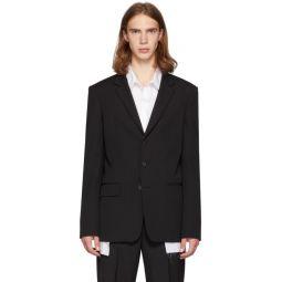 Black Wool Lightweight 3-Button Blazer