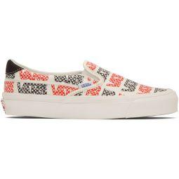White & Red Logo Checkerboard OG Slip-On 59 LX Sneakers