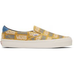 Yellow & Blue Logo Checkerboard OG Slip-On 59 LX Sneakers