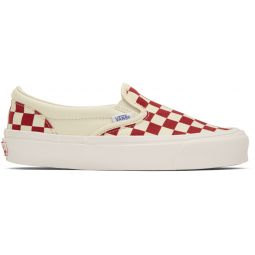 Red OG Checkerboard Classic Slip-On Sneakers