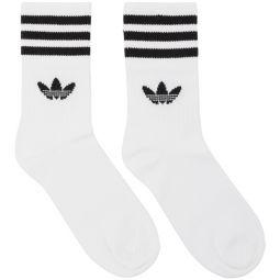 Three-Pack White Striped Mid Cut Socks
