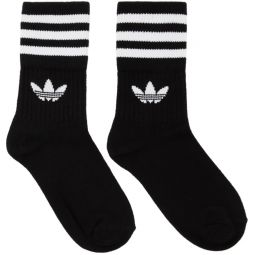 Three-Pack Black & White Striped Mid Cut Socks
