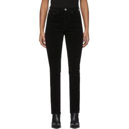 Black Corduroy Double Needle Long Jeans