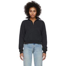 Black 70s Half-Zip Sweatshirt