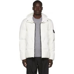 White Down Garment-Dyed Crinkled Jacket