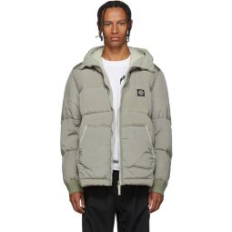 Grey Down Hooded Puffer Jacket