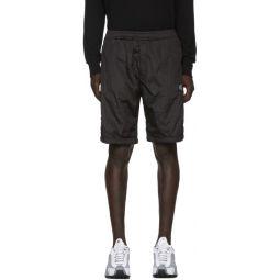 Black Nylon Metal Bermuda Shorts