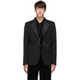Black Double Lapel Tuxedo Blazer