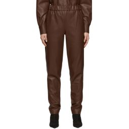 Brown Faux-Leather Pull-On Trousers