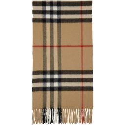 Beige Cashmere Classic Check Scarf