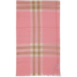 Pink Gauze Giant Check Scarf