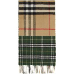 Green & Beige Vintage Check To Giant Check Scarf