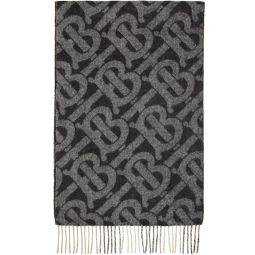 Reversible Black Cashmere Mega Check & Monogram Scarf