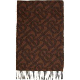 Reversible Brown Cashmere Mega Check & Monogram Scarf