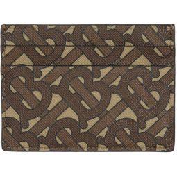 Brown Monogram E-Canvas Sandon Card Holder