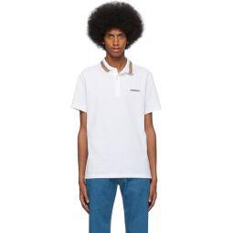 White Icon Stripe Collar Polo