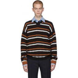 Black & Orange Stripe V-Neck Sweater