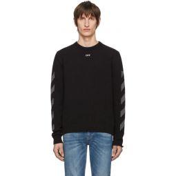 Black Melange Diag Sweater