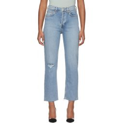 Blue Comfort Stretch High Rise Stove Pipe Jeans