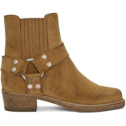 Tan Suede Short Cavalry Boots