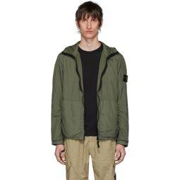 Khaki Nylon Rep Hooded Coat