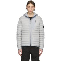 Grey Down Loom Woven Hooded Puffer Jacket