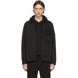 Black Garment-Dyed Overshirt