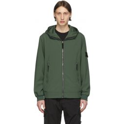 Khaki Soft Shell Hooded Jacket