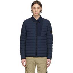 Blue Down Loom Woven Puffer Jacket