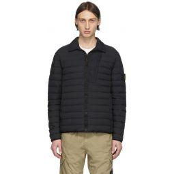 Black Down Loom Woven Puffer Jacket