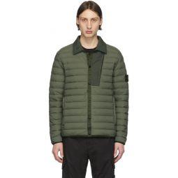 Khaki Down Loom Woven Puffer Jacket
