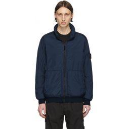 Blue Nylon Zip-Up Jacket