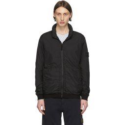 Black Nylon Zip-Up Jacket