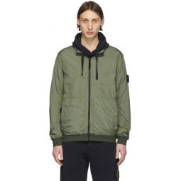 Khaki Nylon Zip-Up Jacket