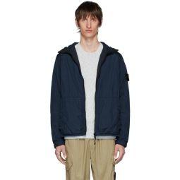 Blue Nylon Rep Hooded Coat