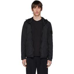 Black Nylon Rep Hooded Coat