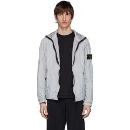 Grey Nylon Rep Hooded Coat