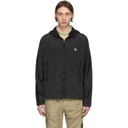 Black Nylon Metal Hooded Jacket