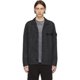 Black Nylon Metal Seersucker Jacket