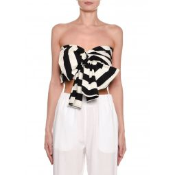 Striped Strapless Tie-Front Crop Top