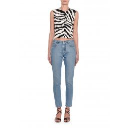 Cropped Animal-Print Sleeveless Top