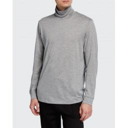 Mens Solid Long-Sleeve Funnel-Neck T-Shirt