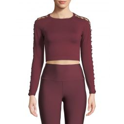 Highline Fitted Crop Top w/ Lace-Up Sleeves