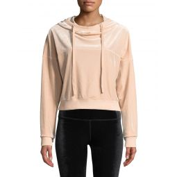 Layer Velour Long-Sleeve Hooded Pullover Top