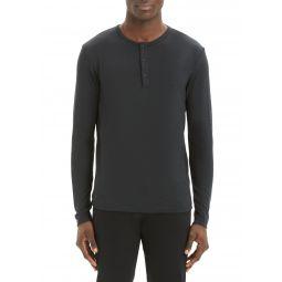 Mens Solid Snap-Button Henley Shirt